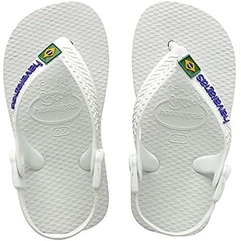 Havaianas Brasil Logo Unisex-Baby Durchgängies Plateau Sandalen, Weiß (Weiß 0001),