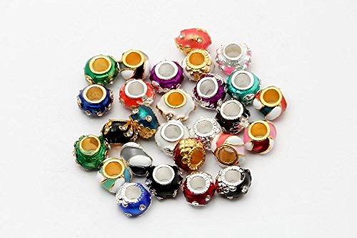 I LOVE DIY 45g Perles en Strass d'argent Compatibles avec les Bracelets de Européens (Multicolor Mixte)