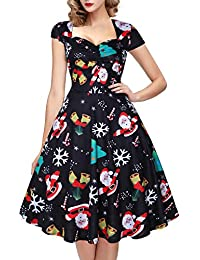 OTEN Women's Vintage Floral Sugar Skull Print Rockabilly Party Dress