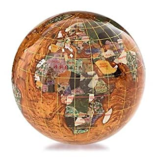 KALIFANO 4 Gemstone Globe Paperweight with Copper Amber Opalite Ocean by Alexander Kalifano