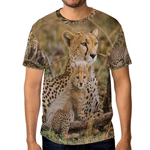 T-Shirt für Männer Jungen Tier Mutter Kind Leopard Benutzerdefinierte Kurzarm -