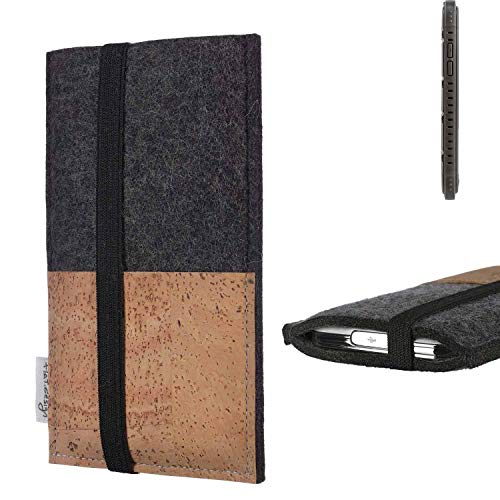 flat.design Handy Hülle Sintra für Cyrus CS 35 Handytasche Filz Tasche Schutz Kartenfach Case Natur Kork