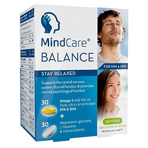 MindCare BALANCE supplément de soulagement du stress - huile de poisson sauvage oméga-3, magnésium, L-théanine & multivitamines pour le système nerveux ; formule en deux gélules qui vous aide à rester détendu, offre le soulagement du stress et de l'anxiété, 30 capsules d'oméga-3 + 30 gélules de micronutriments