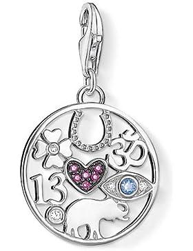 Thomas Sabo Damen-Anhänger Talisman Glückssymbole mit synthetischer Korund Pavé rot 925 Silber Zirkonia weiß Spinell...