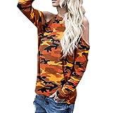 JUTOO Frauen Schulterfrei Camouflage Langarm Bluse Tops T-Shirt(Orange,EU:44/CN:XL)