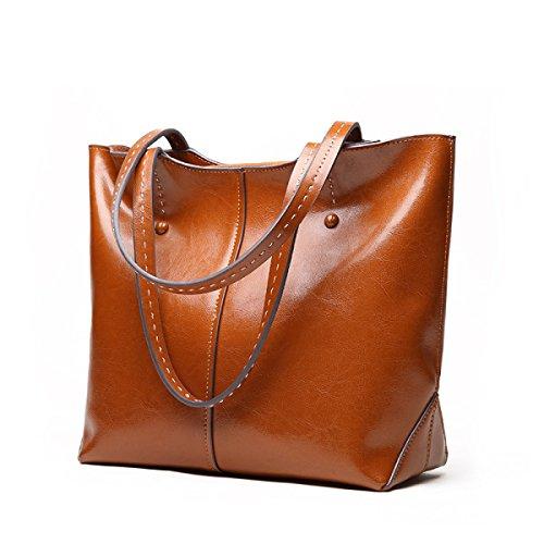 ZPFME Damen Handtasche Weiches Leder Leder Große Kapazität Damen Handtaschen Mädchen Party Retro Damen Mode Schultertasche Messenger Bag Brown