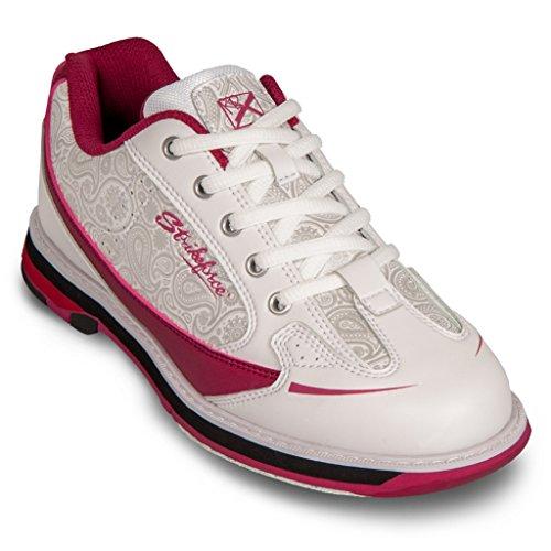 KR Strikeforce Women's Curve Bowling Shoes, White/Scarlet/Paisley, 10