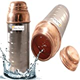 Prisha India Craft ® 750 ML - SET OF 2 - Copper Water Pitcher For The Refrigerator New Design Outside STEEL Inside COPPER Water Bottle - Sports Water Bottles - Diwali Gift With Bottle Cleaning Brush And WOODEN KEYRING