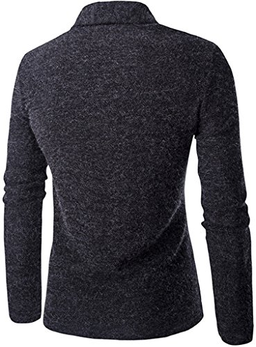 Whatlees Unisex Hip Hop Urban Basic Lang geschnittene Schlichte Strickjacke Cardigan in Versch. Farben B202-Grey