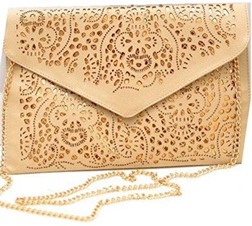 HandBagCrave® Umschlaghandtasche handtasche Patent Krokodil Cutout Schlange Nieten Schultertaschen (Ausgeschnitten Braun) (Ausgeschnitten Patent)