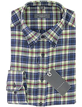ETERNA Comfort Fit Herren Flanell Hemd aus 100% Baumwolle langarm mit Button-Down Kragen Gr. M 39/40 Blau Kariert