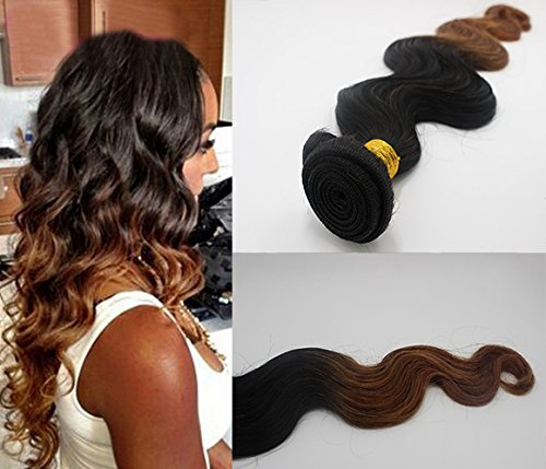 Romantic Angels® 16''(40cm) Tissage Bresiliens Ondules Body Waves-Cheveux Vierges 1 Bundle 100g Couleur#1b/30