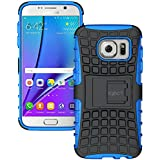 Galaxy S7 Edge Case - Exact [TANK Series] - Shock Proof Tough Rugged Dual-Layer Case with Built-in Kickstand for Samsung Galaxy S7 Edge (2016) Black/Blue