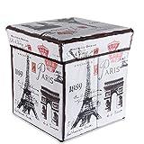 Cadorabo Intirilife – 30 x 30 x 30 cm Sitzhocker Aufbewahrungs-Box aus Stoff und Pappe Faltbox Ordnungsbox Kiste mit Deckel und Paris Aufdruck in Eiffelturm
