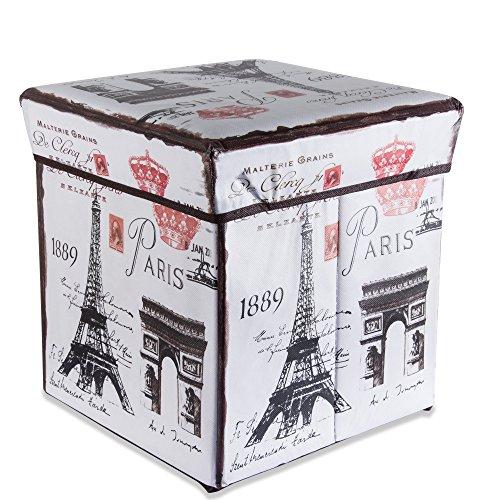 Cadorabo Intirilife - 30 x 30 x 30 cm Sitzhocker Aufbewahrungs-Box aus Stoff und Pappe Faltbox Ordnungsbox Kiste mit Deckel und Paris Aufdruck in Eiffelturm
