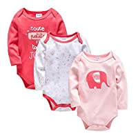 Baotung Baby Boys/Girls Cotton Long Sleeve Bodysuit 3 Pack - - 9-12 Months/80 cm