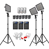 Emgreat® Aputure Amaran HR672Kit(2*HR672S + HR672C) 672 Led Video Light Panel Studio Lighting Kit with 2.4G FSK Wireless Remote Control, Battery Pack and Pergear Clean Kit (SSC)