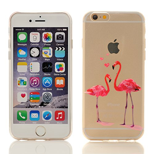 iProtect Apple iPhone 6, 6s TPU Softcase Schutzhülle kleine Flamingo-Parade Pink auf Weiß Flamingos in love