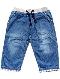LvRao Baby Elastic Waist Denim Jeans Adjustable Drawstring Plaid Cropped Pants Shorts For Toddler
