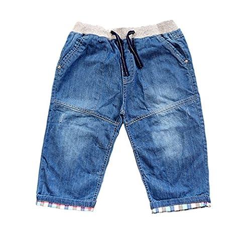 LvRao Baby Elastic Waist Denim Jeans Adjustable Drawstring Plaid Cropped