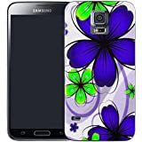Mobile Case Mate Samsung Galaxy S5 i9600 clip on Silicone Coque couverture case cover Pare-chocs + STYLET - daisy blue bunch pattern (SILICON)