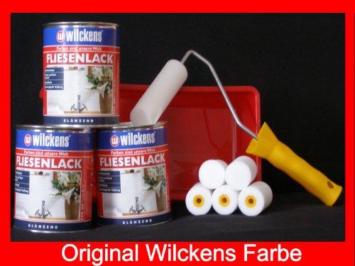 3 Dosen FLIESENLACK inkl. FARBROLLER WILCKENS cremeweiß für 24 qm