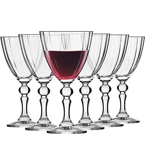 Krosno Kleine Rot-Weingläser | Set von 6 | 250 ML | Illumination Kollektion | Perfekt für zu Hause, Restaurants und Partys | Spülmaschinenfest -