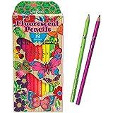 eeBoo - Set de 12 lápices, colores fluorescentes, diseño Mariposas (PNBUT)