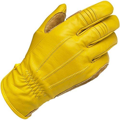 Guanti Uomo Pelle Gialli Gold Biltwell Work Gloves Biker Moto Custom Taglia M