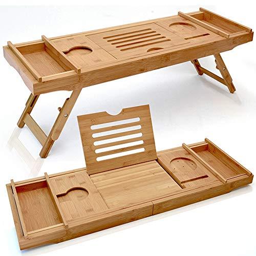 Laptop-schreibtisch-caddy (Bambus Badewanne Caddy, Badewanne Tabletts erweiterbar Laptop Bett Schreibtisch mit faltbaren Beinen Dusche Geschenk,BathtubCaddyTray)