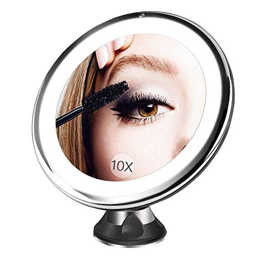 BESTOPE Kosmetikspiegel 10X Vergrößerungsspiegel, Beleuchtet Schminkspiegel mit 10x Vergrößerung und Saugnapf, 360°Schwenkumdrehung Badspiegel, Dimmbare Beleuchtung, Batteriebetrieben Make-Up-Spiegel(Schwarz) Schwarz Schminkspiegel