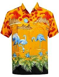la Leela chemise hawaïenne poche avant pour les hommes manches courtes flamants aloha orange