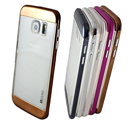 Samsung Galaxy Note 4 Slicoo Hybrid Clear Handyhülle Schutzhülle Bumper Tasche Hard Cover Case aus Polycarbonat Rahmen und Transparent TPU Silikon in Bronze (Leichtem Polycarbonat-rahmen)