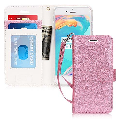 fyy iPhone SE Fall, iPhone 5S Fall, [Ständer Funktion] Flip Folio Leder Wallet Schutzhülle mit ID und Kreditkarte Taschen für Apple iphone/5S/5/5C, AD-Bling-Pink