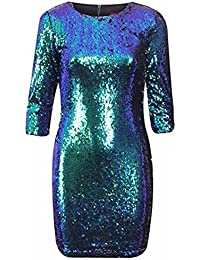 WOMENS LADIES EVENING PARTY BLINGY SHINY BODYCON SEQUIN TWO TONE 3/4 SLEEVE DRESS