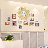 JH Fotorahmen Kollage Groß Foto-Wand-Hölzernes Foto-Wand-europäisches Wohnzimmer-Restaurant-Foto-Rahmen-Wand Einfache Kreative Kreative Foto-Rahmen-Wand Stummschalten der Uhr (Color : 3#)