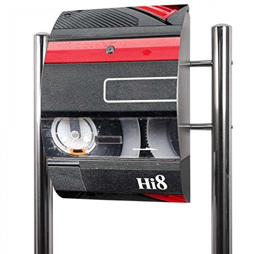 BANJADO Edelstahl Briefkasten groß, Standbriefkasten freistehend 126x53x17cm, Design Briefkasten mit Zeitungsfach Motiv Video Kassette