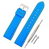 Vinband Cinturino in silicone cinturino caucciù multicolore impermeabile argento fibbia 18, 20, 22, 24 mm - cinturini orologi orologio cinturino (20mm, azzurro)