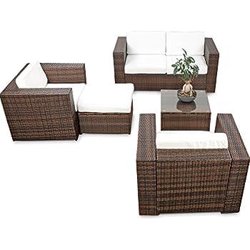Balkonmöbel lounge-sofa  Amazon.de: erweiterbares 17tlg. Gartenmöbel Rattan Lounge - braun ...