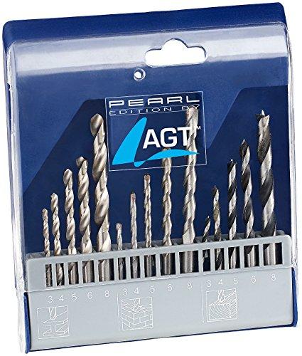 AGT NX-5445 Betonbohrer: Bohrer-Set 15-TLG. mit HSS-Metallbohrer, Holz-& Steinbohrer (Steinbohrerset), silber