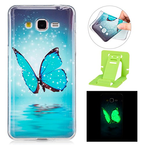 Coque Galaxy Grand Prime G530 Luminous,Transparent Coque pour Samsung Galaxy Grand Prime,Ekakashop Ultra Slim-fit Noctilucent avec Motif Hibou Coque de Protection en Soft TPU Silicone Crystal Clair So Papillon Lumineux