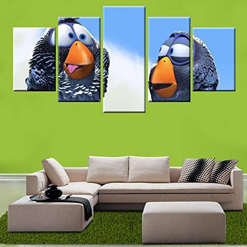 Mxsnow 5 Leinwanddrucke Rahmen Wandbilder Hd Print Spiel Angry Birds Poster Leinwandbilder Wandkunst Für Wohnkultur Kinderzimmer Wandbild Drucke Auf Leinwand