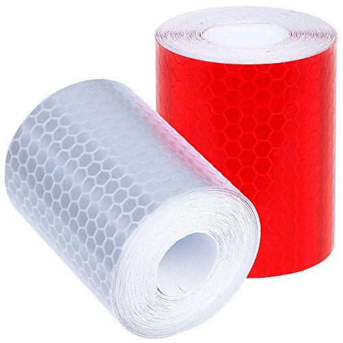 IHRKleid Reflektorband Klebeband für Sicherheit Warnklebeband Sicherheit Markierung Band 2 Rolle 5 x 300cm Silberweiß und Rot