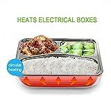 Box chauffante Lunch Box verwenden in Auto LKW tkstar Elektrische Lunchbox, Thermo 12V 45W Box Lebensmittel Lunchbox Edelstahl, boîtes-repas Reinigung abnehmbar 3Bucket Lunchbox Orange