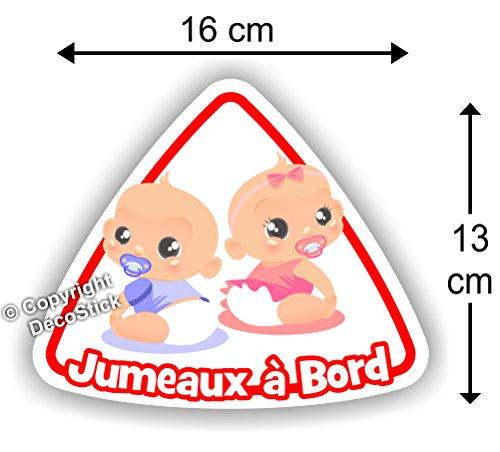 Jumeaux à bord Fille / Garçon - Sticker Autocollant bébé à bord modèle 3