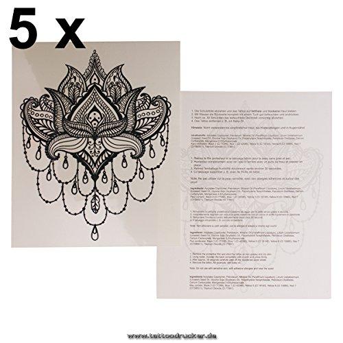 5 x Lotus Tattoo Mandala Blume schwarz fake Tattoo wasserdicht - No China! (5)
