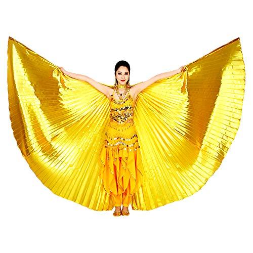 Gold Wings Kostüm - Isis Flügel Isis Wings,Ägypten Eröffnung Bauchtanz Isis Wings mit Teleskopstangen Frauen Professionelle Bauchtanz Kostüm Winkel Isis Wings Karneval Kostüme Frauen (Gold)