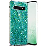 Robinsoni Cover Compatibile con Samsung Galaxy S10 Custodia Flessibile Galaxy S10 Cover Silicone TPU Brillante Glitters Cover Caso Luminosa Crystal Custodia Silicone Gel Ultra Morbido Cover,Verde