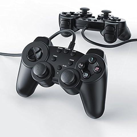 CSL - 2 x Manettes pour PlayStation 2 avec câble + Dual Vibration   Joypad Controller   Plug & Play   noir