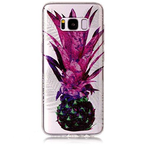 Preisvergleich Produktbild Hozor Niedlich Mode Glitzer Muster Ultra Dünn Durchsichtige Handy Hülle für Samsung Galaxy S8 Plus S8+ 6.2 zoll Stylish Weiche Silikon TPU Handy Schutzhülle Bumper Case - Ananas